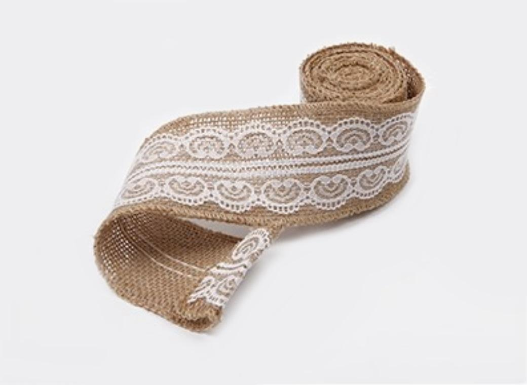 Hessian Ribbon with White Lace 60mm