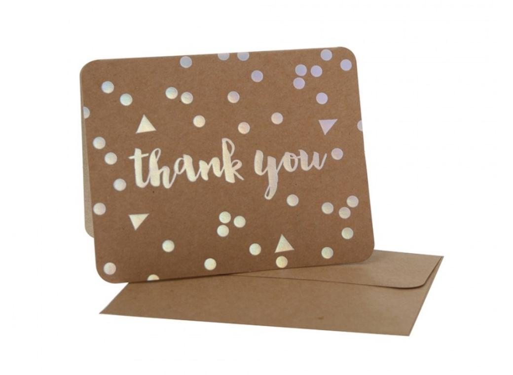 hiPP Thank You Cards - Kraft with Iridescent Confetti