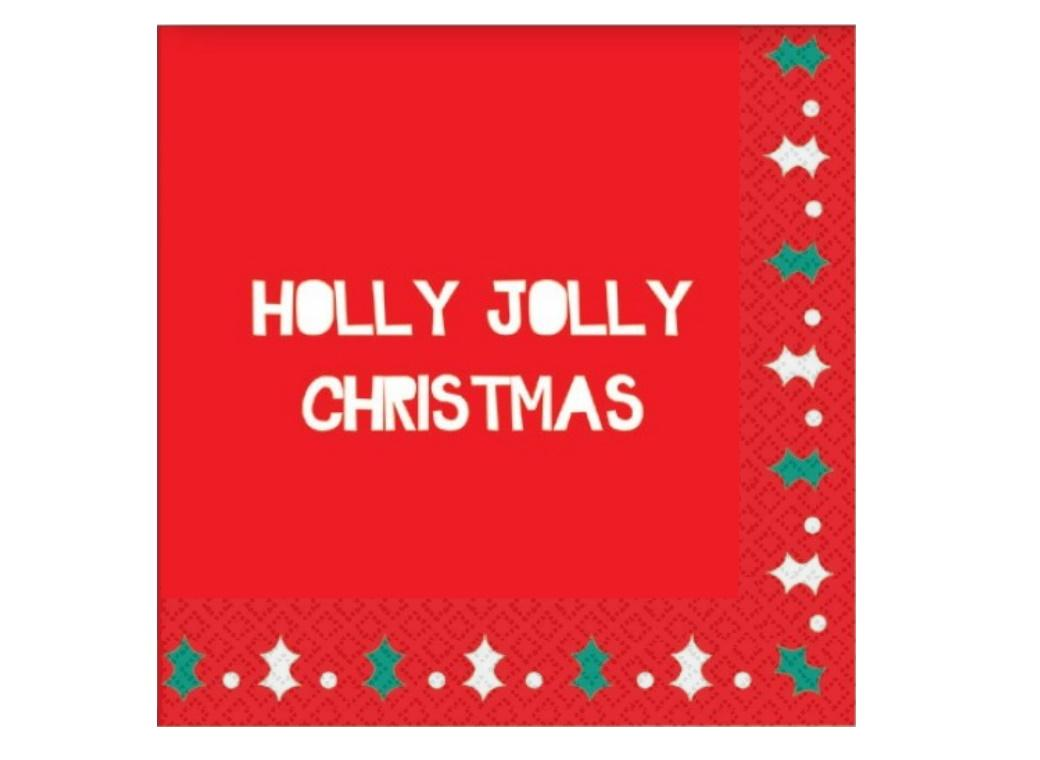 Holly Jolly Christmas Lunch Napkins 20pk