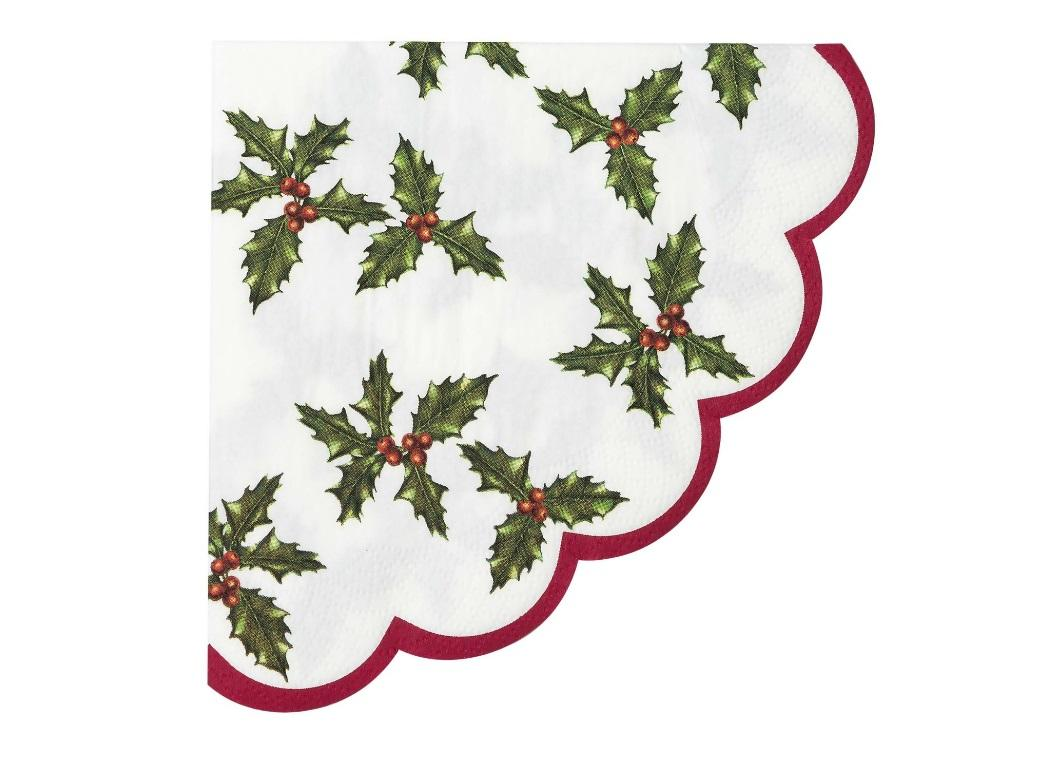 Holly Scalloped Napkins 20pk