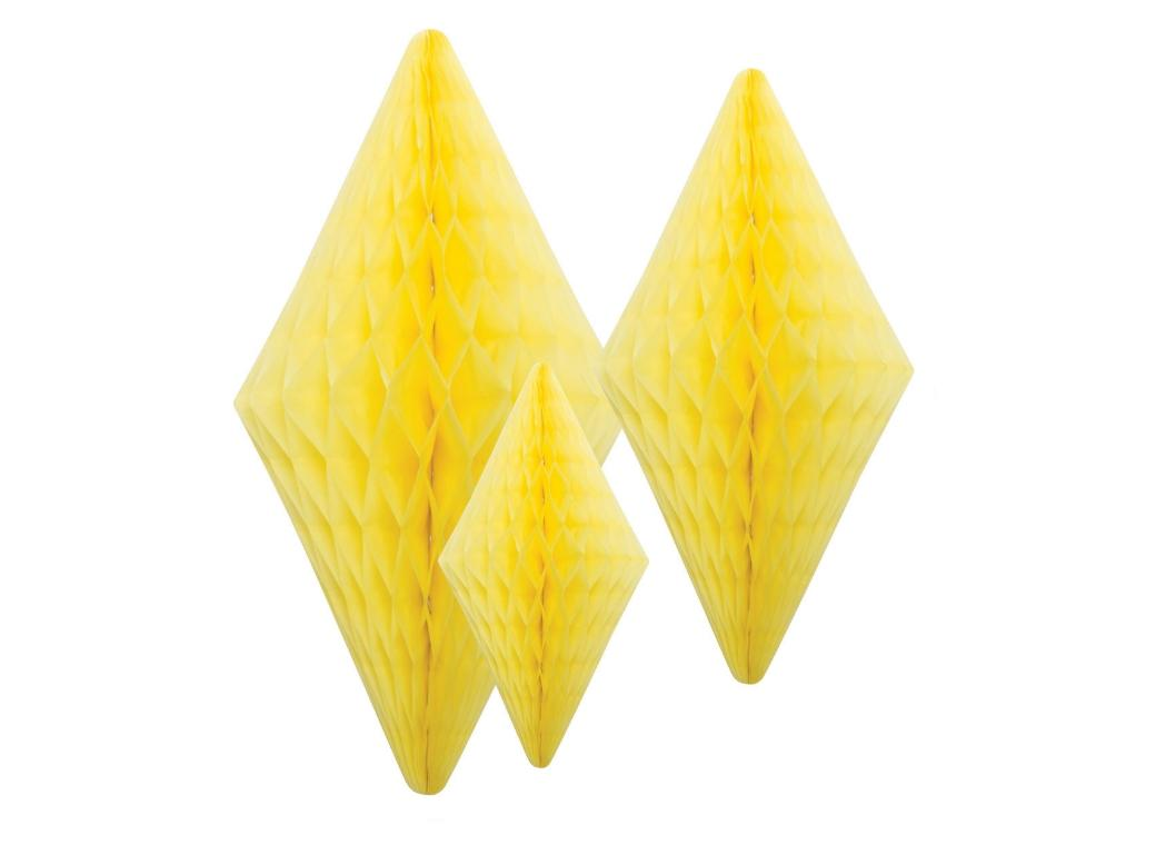 Honeycomb Diamonds - Yellow - Set of 3