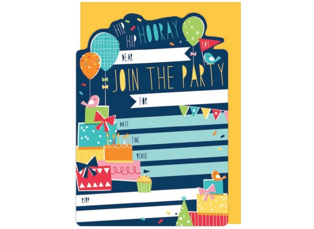 Hooray Party Invitations 16pk