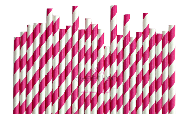 Paper Straws Hot Pink Stripe