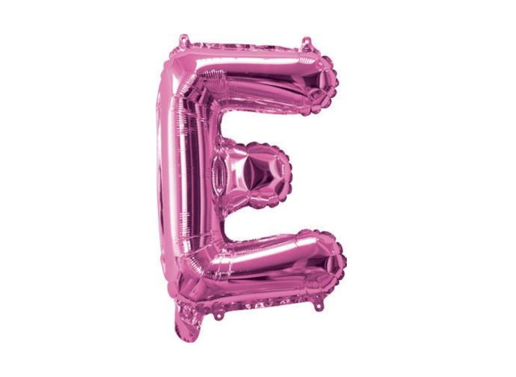 Mini Hot Pink Foil Balloon - Letter E