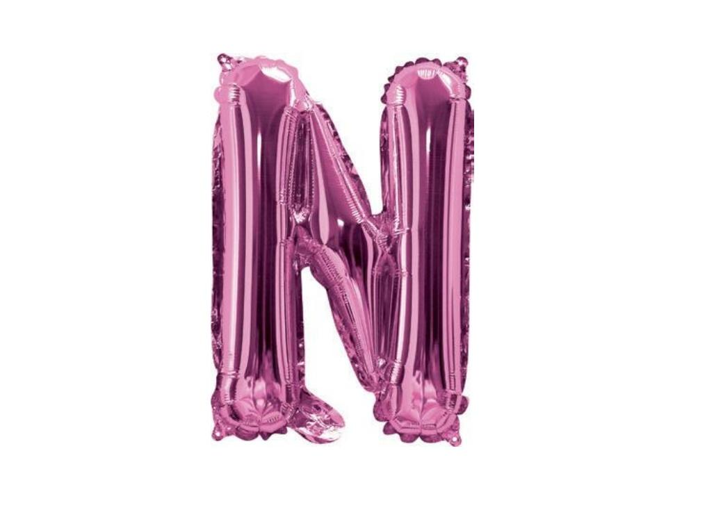 Mini Hot Pink Foil Balloon - Letter N
