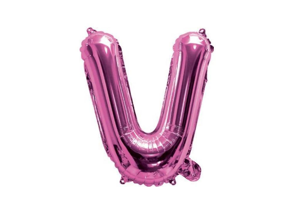 Mini Hot Pink Foil Balloon - Letter V
