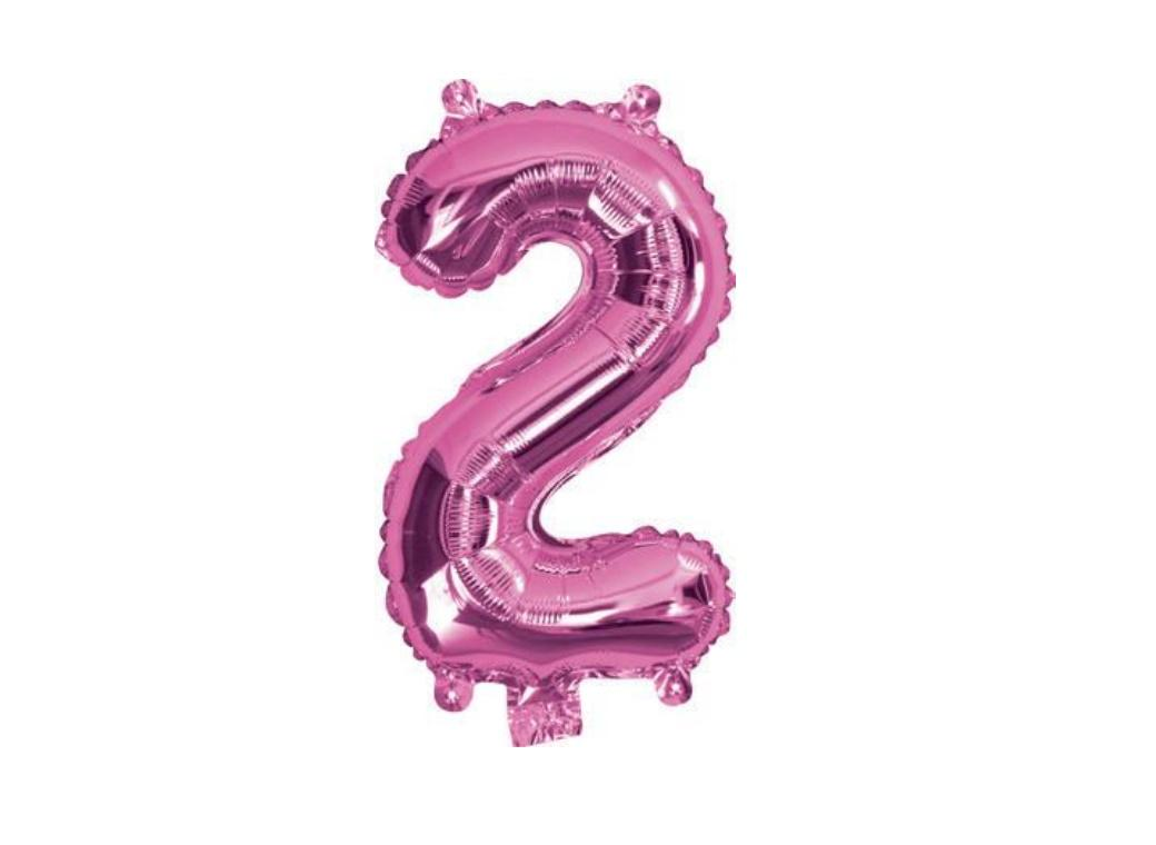 Mini Hot Pink Foil Balloon - Number 2