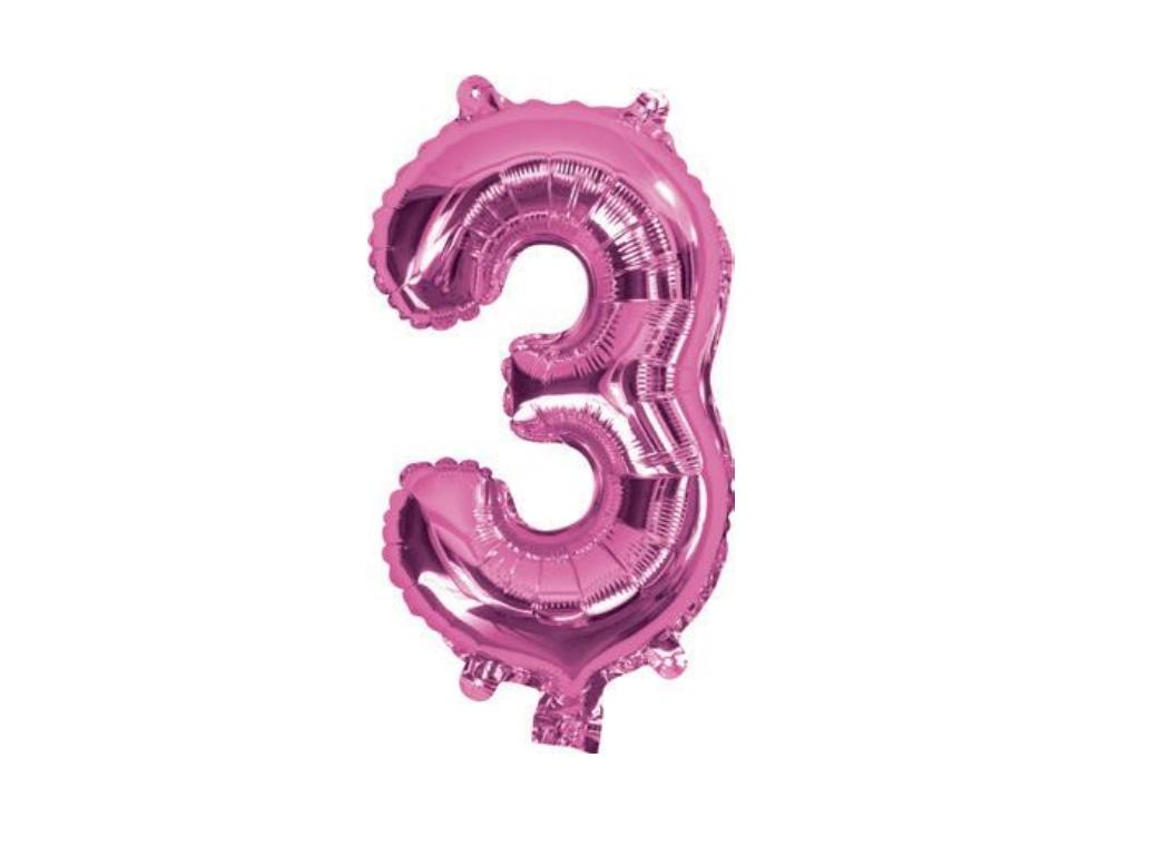 Mini Hot Pink Foil Balloon - Number 3
