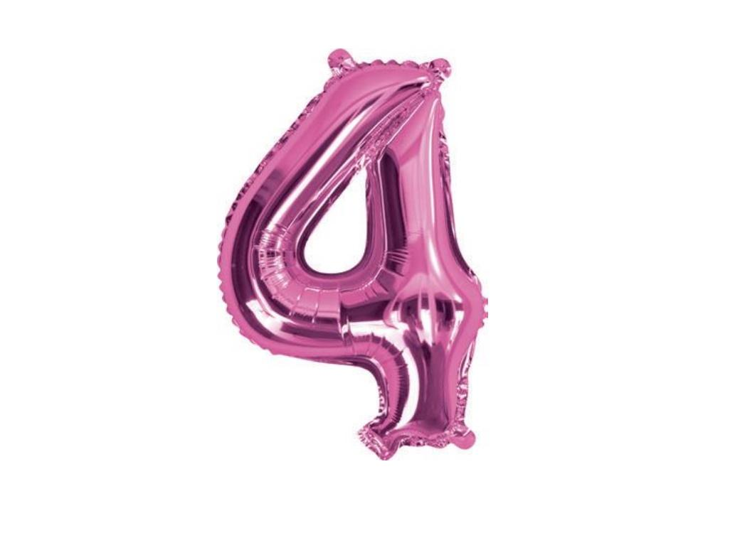 Mini Hot Pink Foil Balloon - Number 4