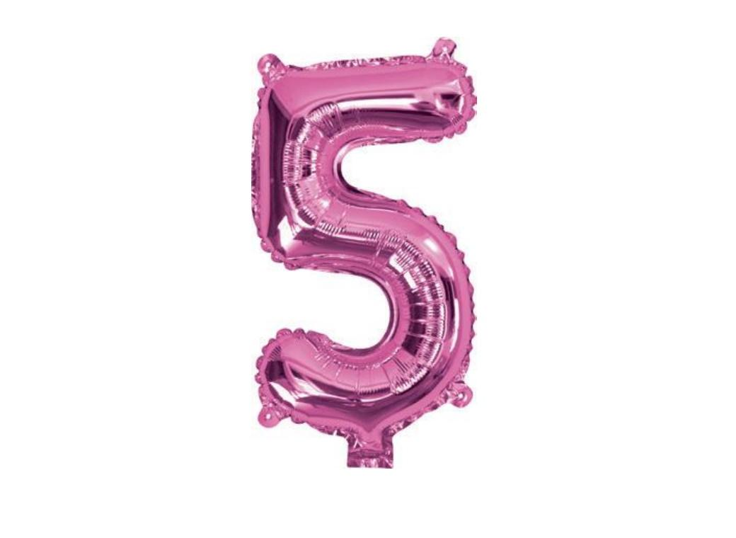 Mini Hot Pink Foil Balloon - Number 5