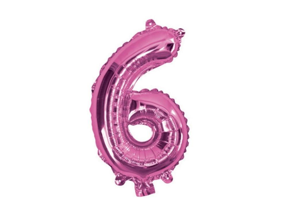 Mini Hot Pink Foil Balloon - Number 6