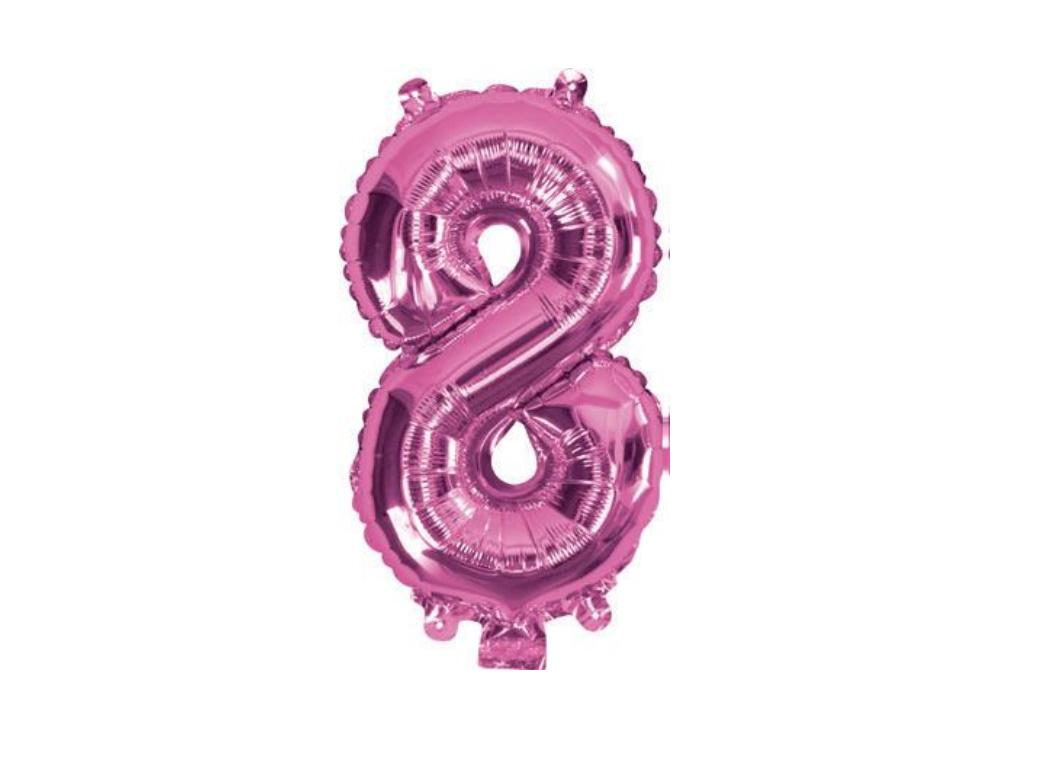 Mini Hot Pink Foil Balloon - Number 8