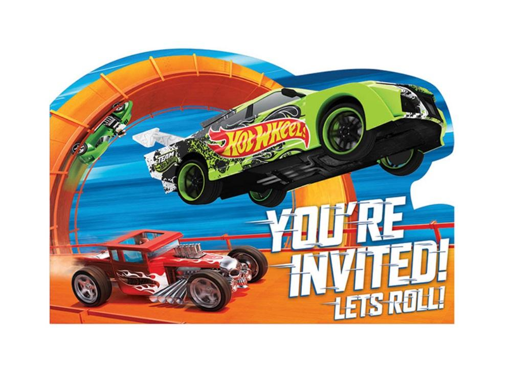 Hot Wheels Party Invites - 8pk
