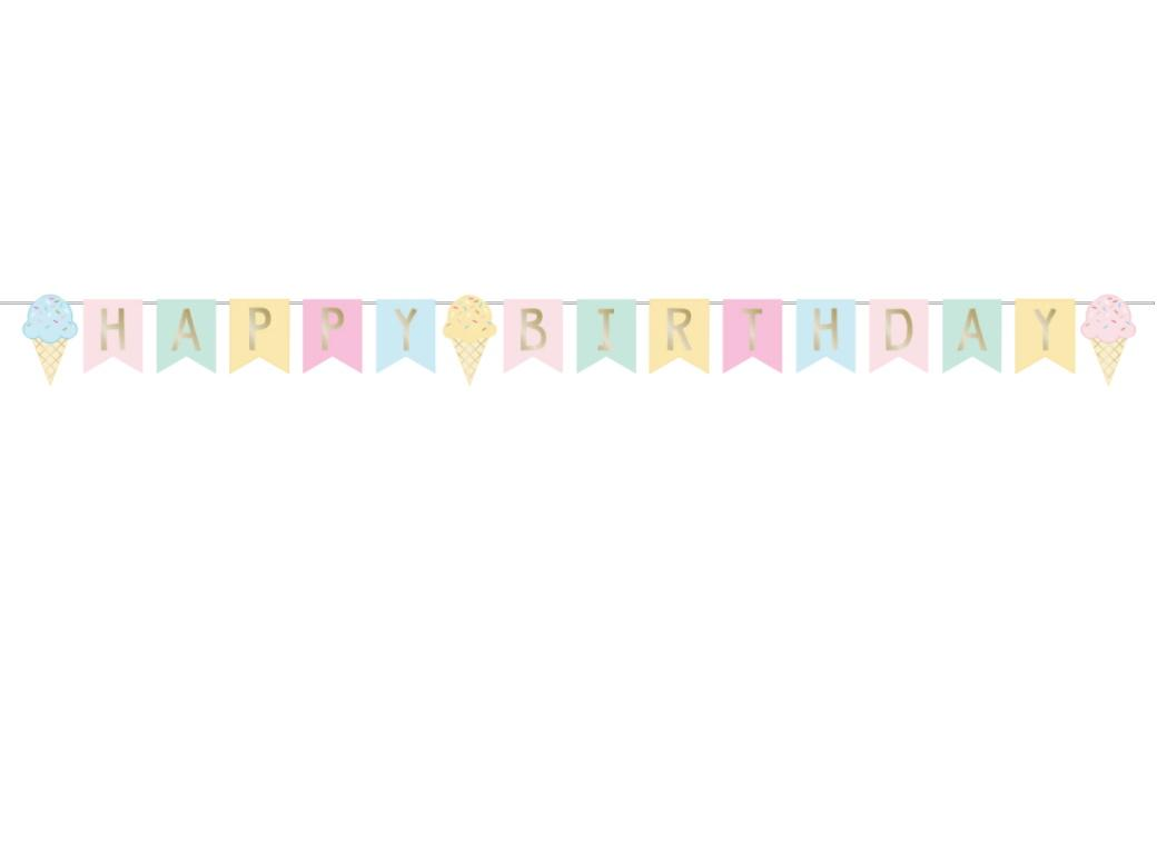 Ice Cream Party Happy Birthday Banner
