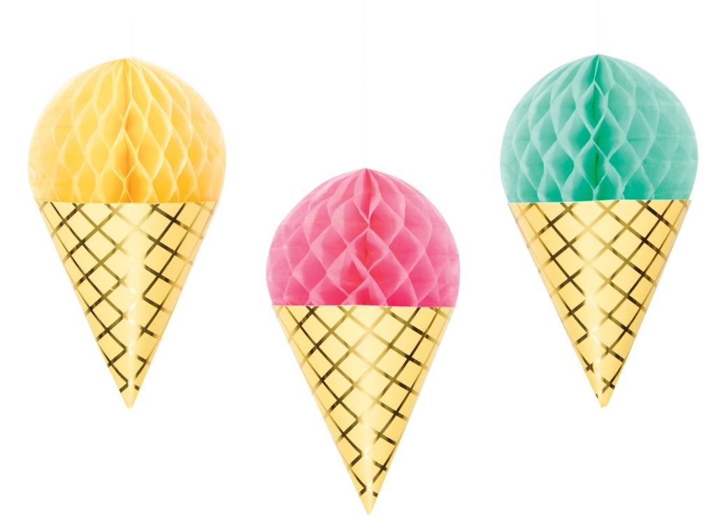 Ice Cream Party Honeycomb Decorations
