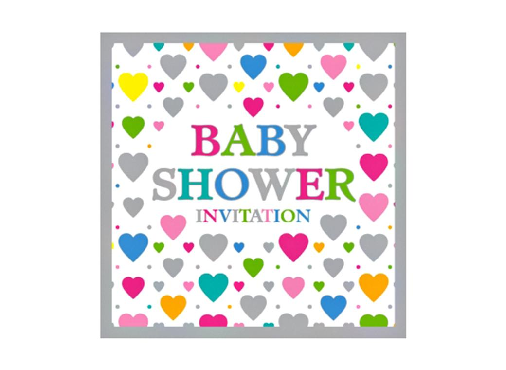 Hearts Baby Shower Invitations - 5pk
