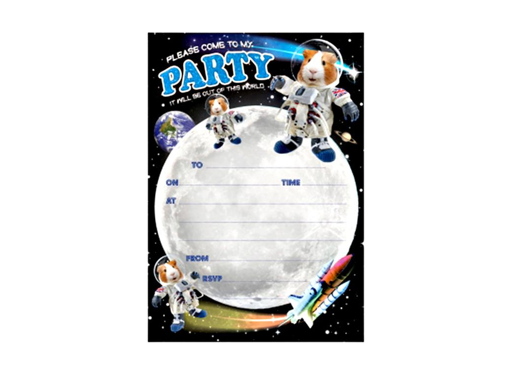 Guinea Pig Spaceman Party Invitations 20pk