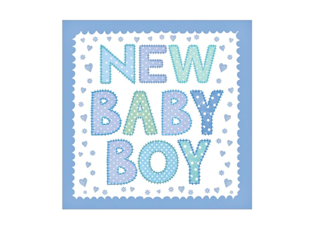 New Baby Boy Birth Announcement Cards - 5pk
