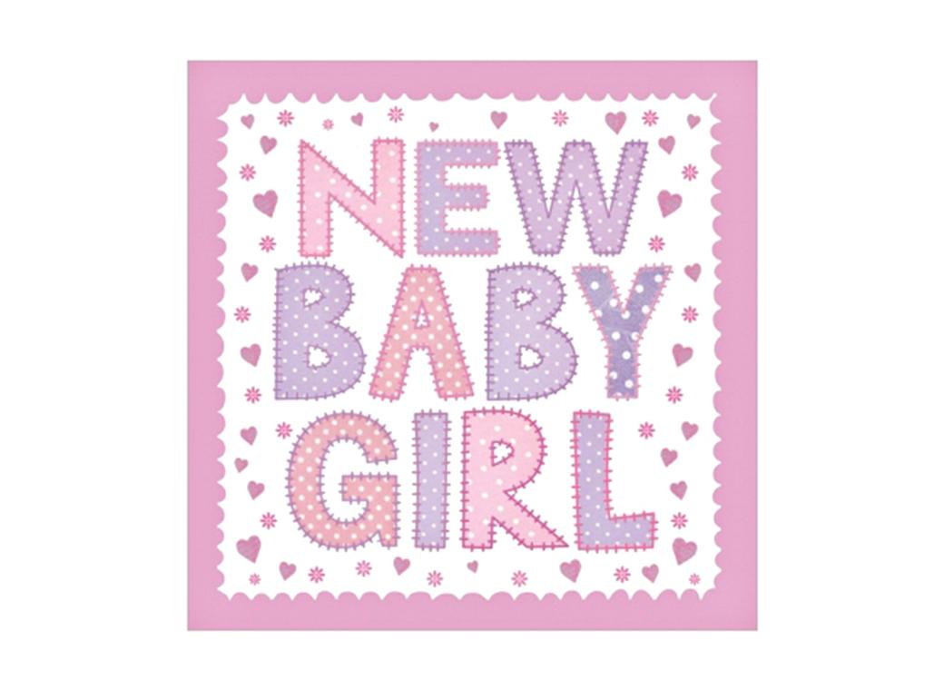 New Baby Girl Birth Announcement Cards - 5pk