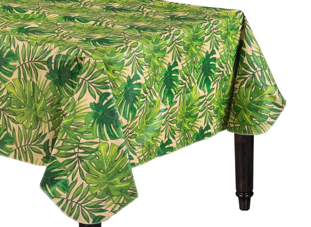 Island Palms Flannel-Backed Vinyl Tablecover