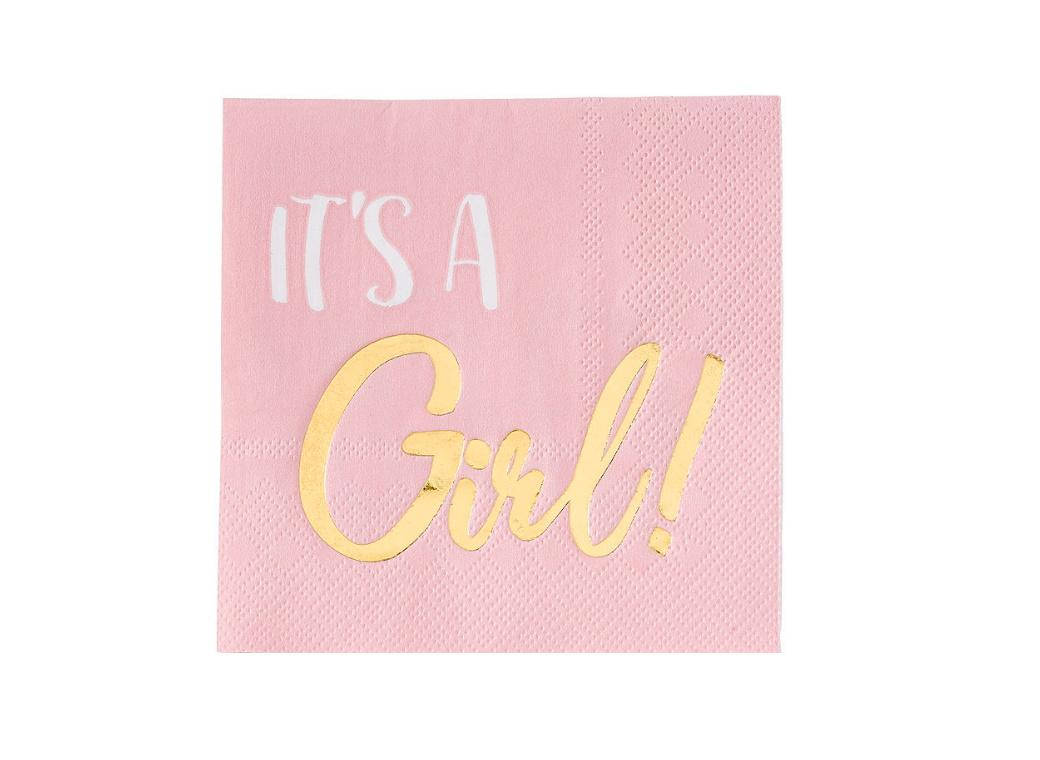 It's A Girl Beverage Napkins 16pk