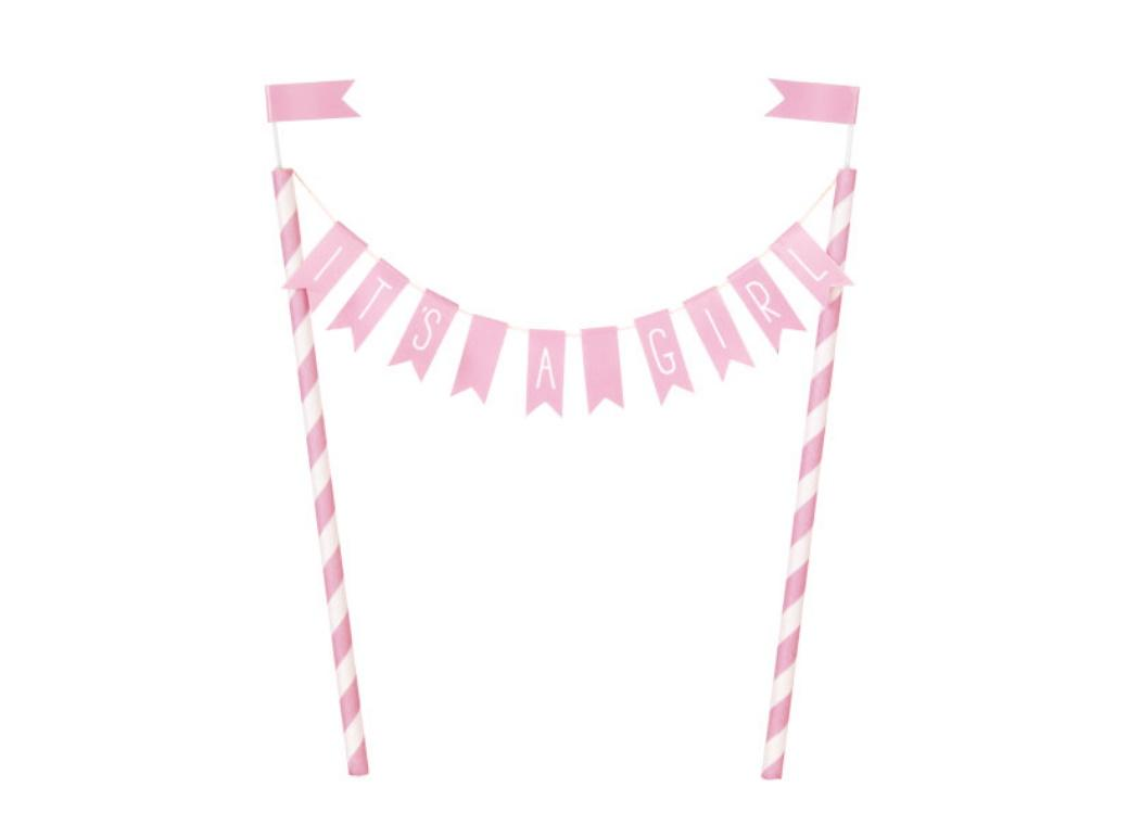 It's A Girl Bunting Cake Topper