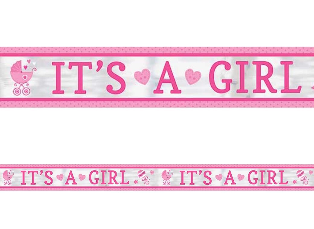 It's A Girl Foil Banner