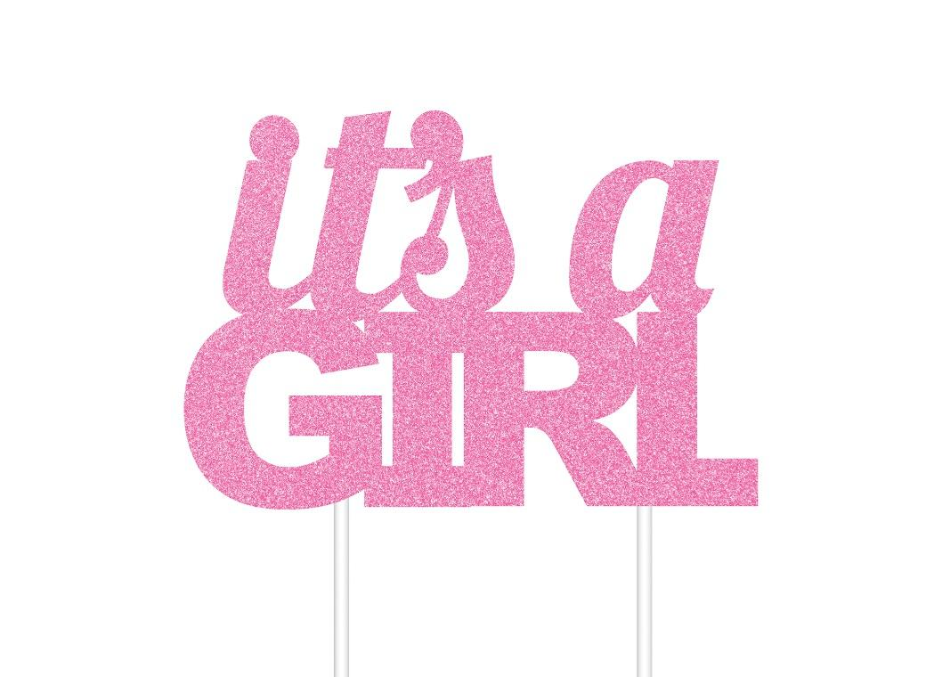 It's A Girl Glitter Cake Topper