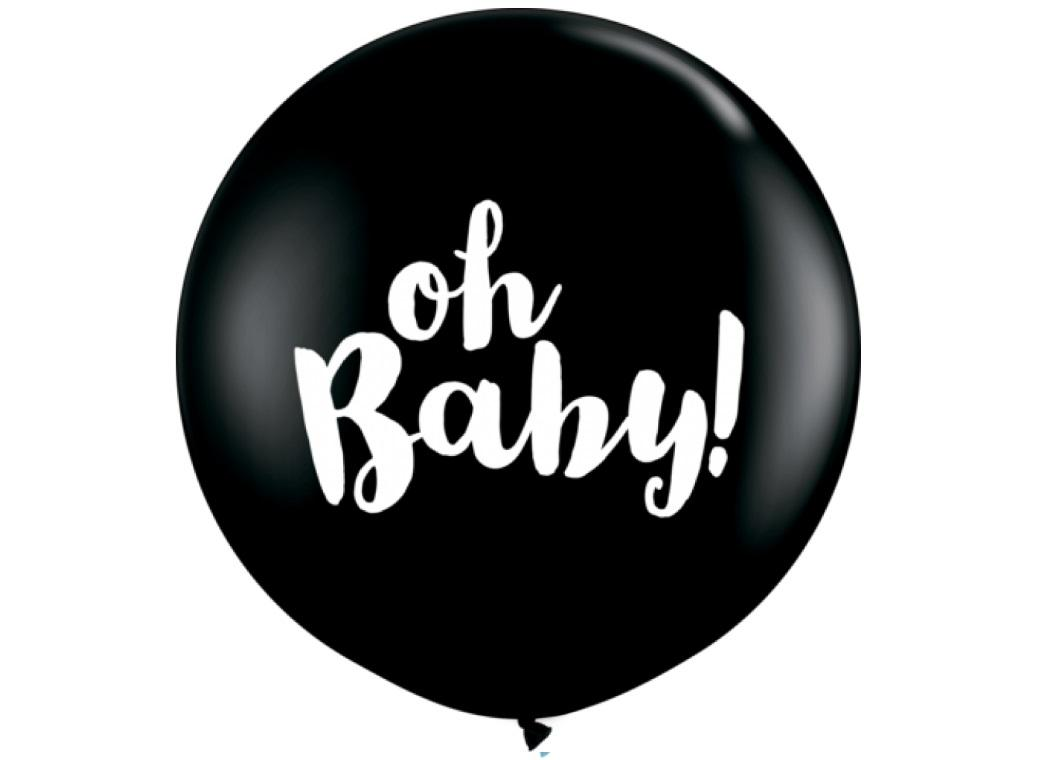 Jumbo Balloon - Oh Baby Black