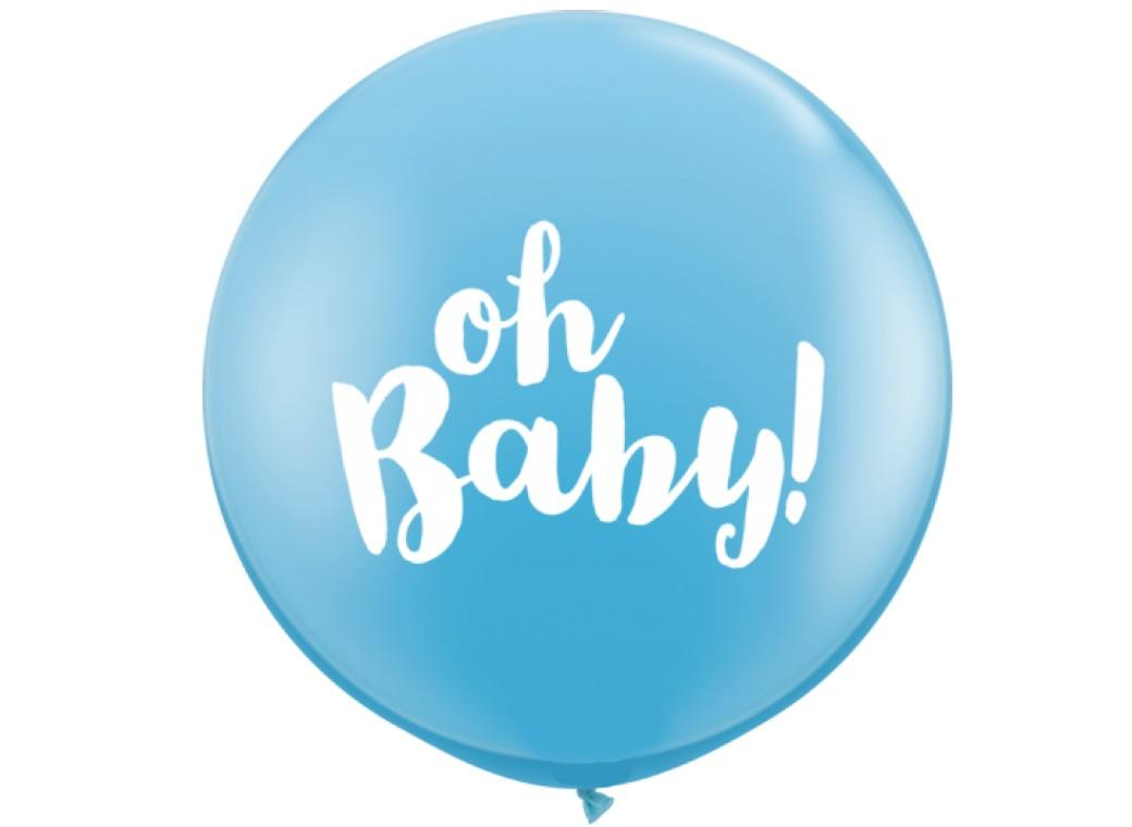 Jumbo Balloon - Oh Baby Pale Blue