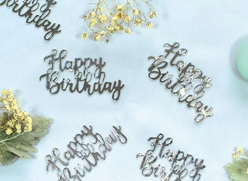 Jumbo Confetti - Happy Birthday Silver