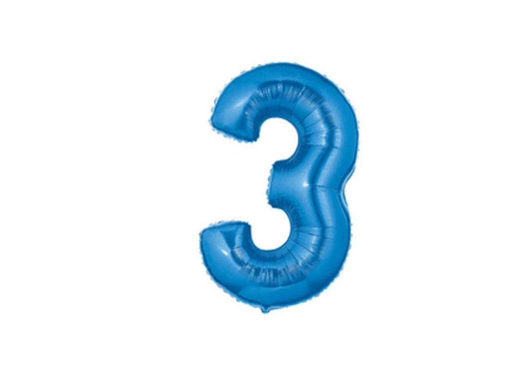 86cm Blue Number Balloon - 3