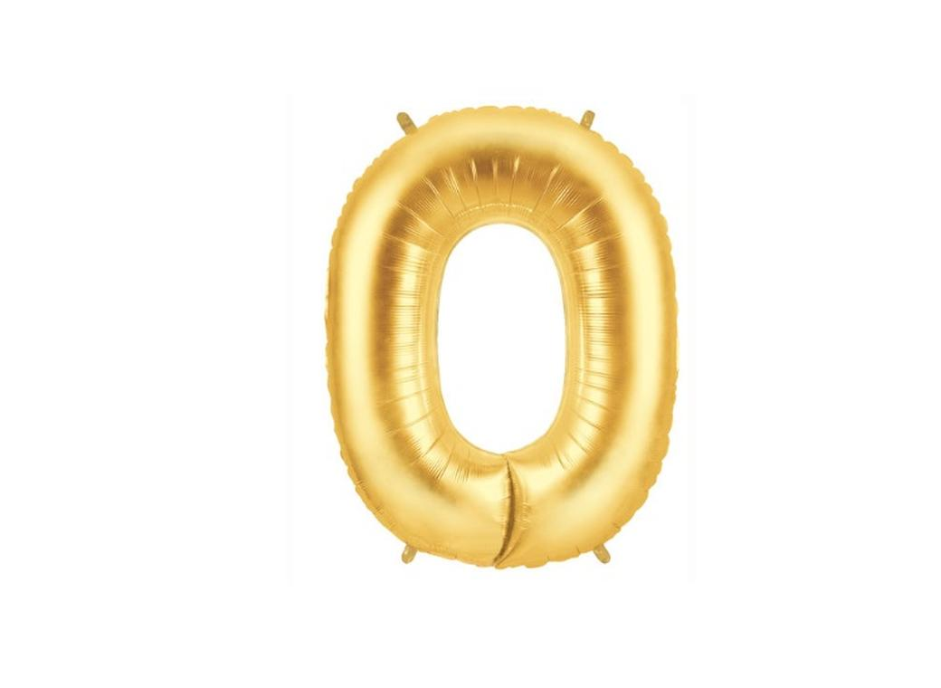 86cm Gold Number Balloon - 0