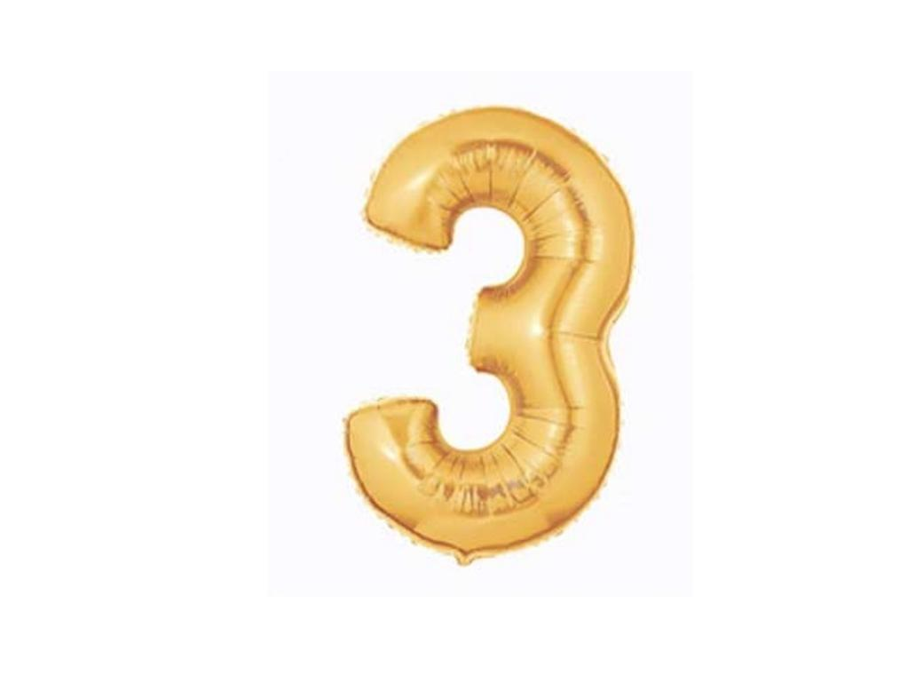 86cm Gold Number Balloon - 3