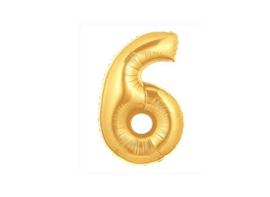 86cm Gold Number Balloon - 6