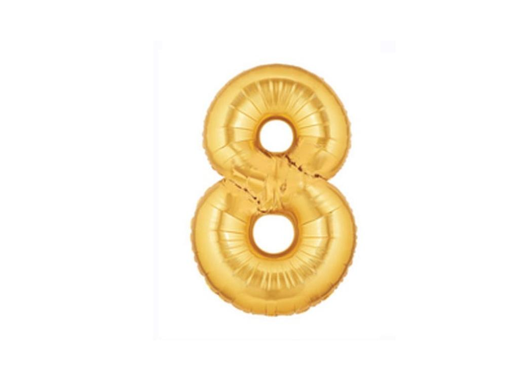 86cm Gold Number Balloon - 8