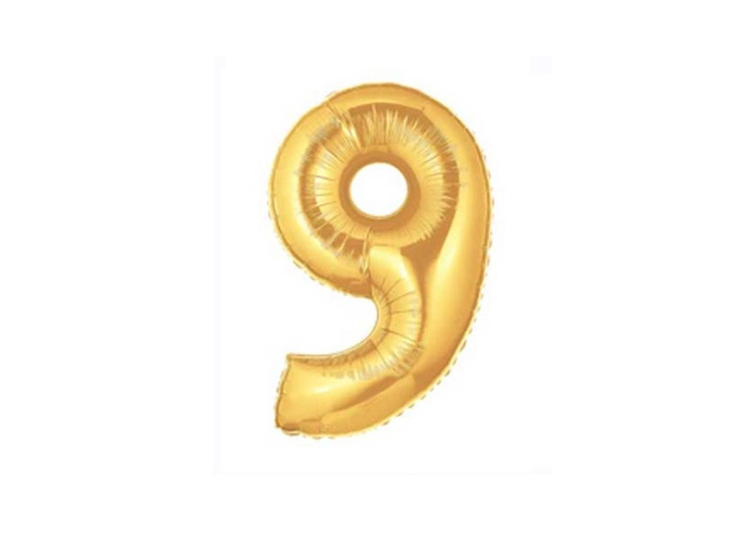 86cm Gold Number Balloon - 9