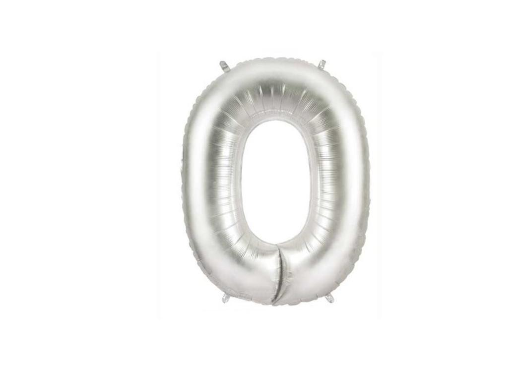86cm Silver Number Balloon - 0