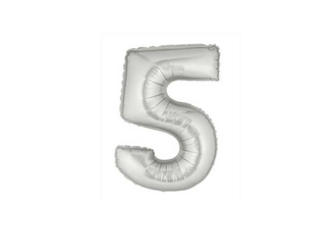 86cm Silver Number Balloon - 5