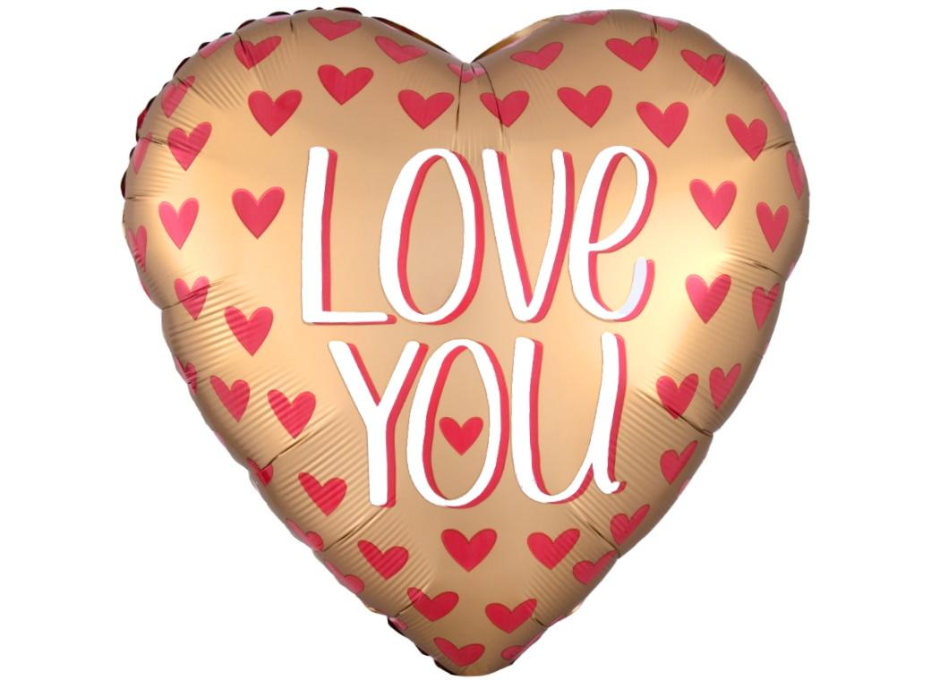 Jumbo Satin Gold Love You Foil Balloon