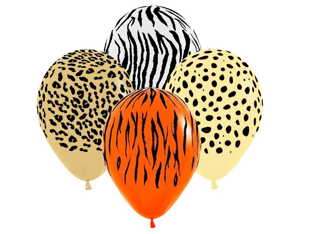 Jungle Safari Print Balloons 12pk