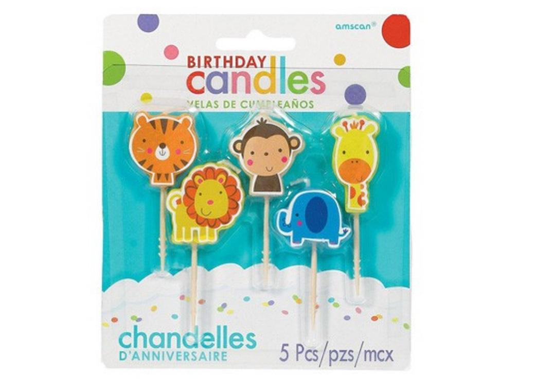 Jungle Animals Birthday Candle Set