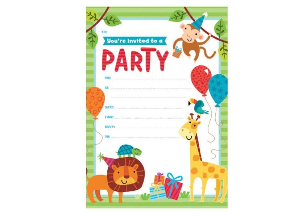 Jungle Animals Invitations