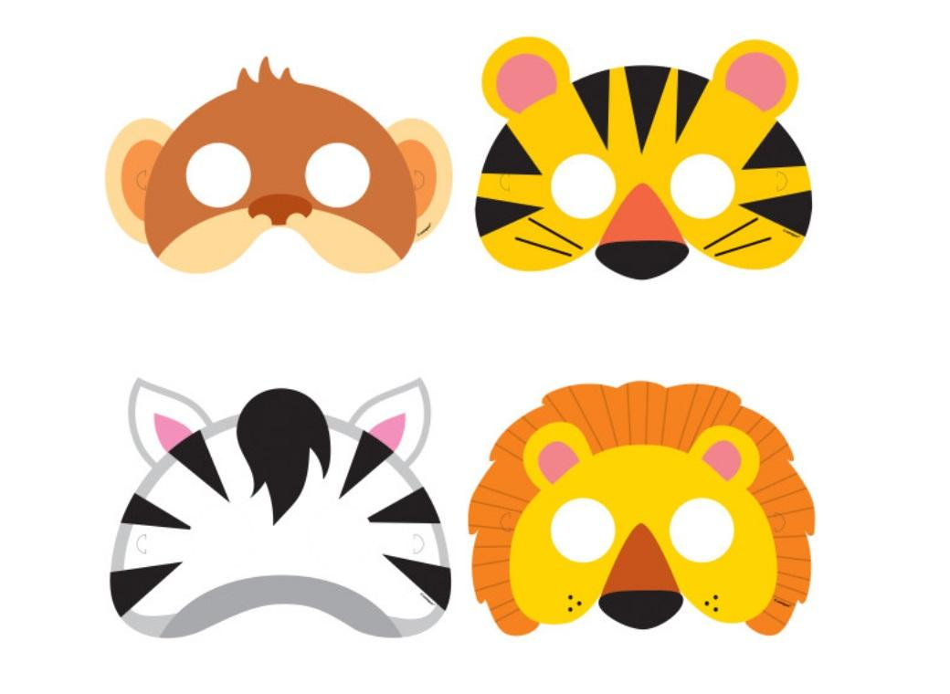 Jungle Animals Party Masks 8pk