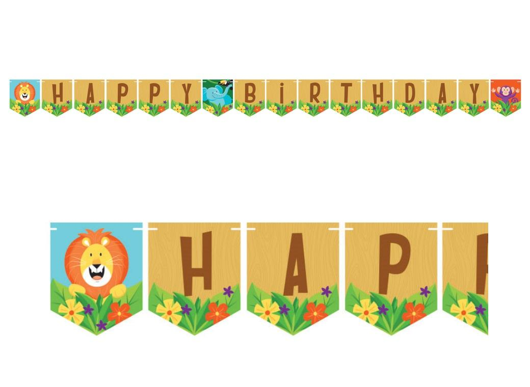 Jungle Safari Happy Birthday Banner