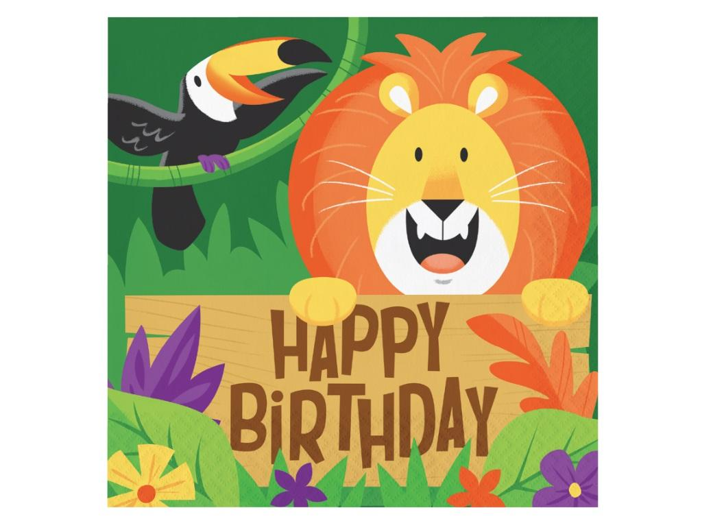 Jungle Safari Birthday Lunch Napkins 16pk