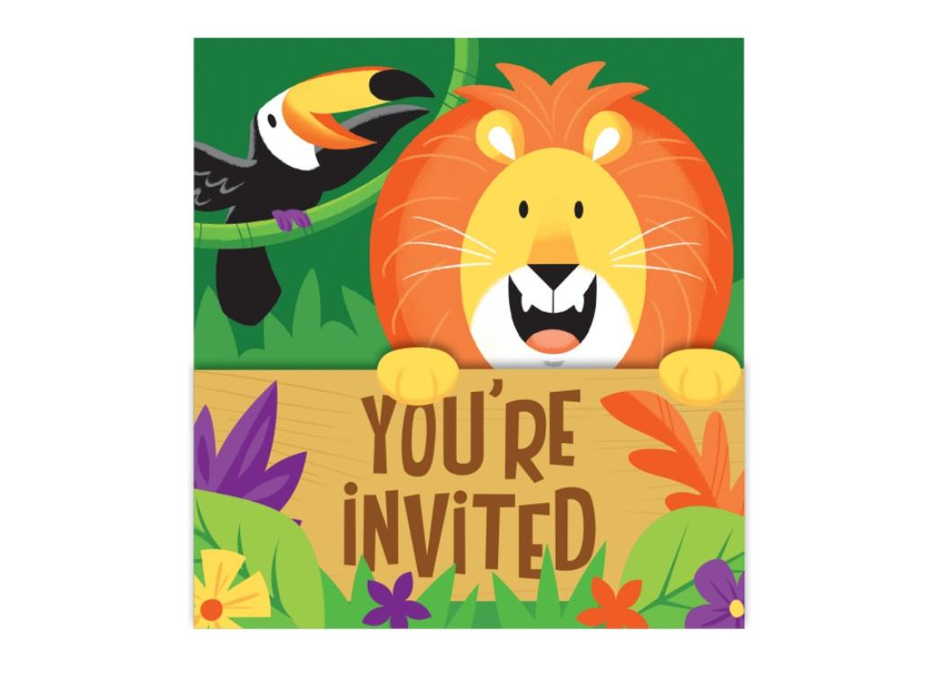 Jungle Safari Invitations 8pk