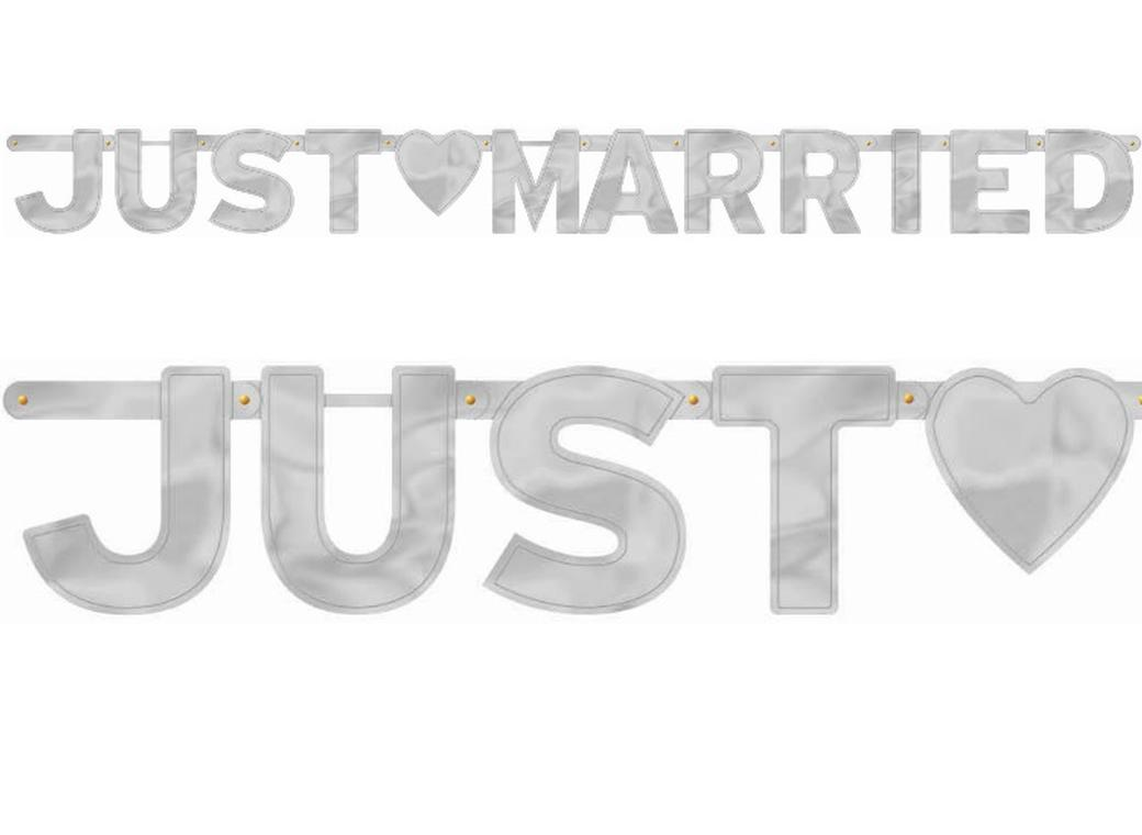 """Just Married"" Silver Letter Banner"