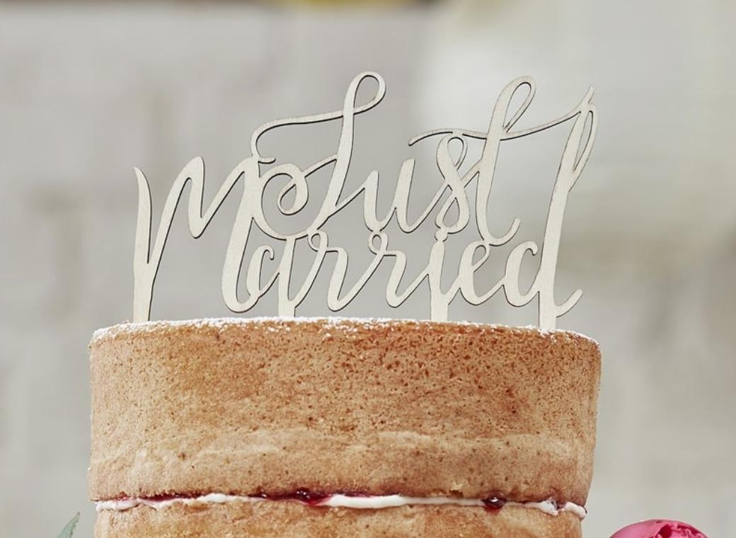 Wooden Cake Topper - Just Married