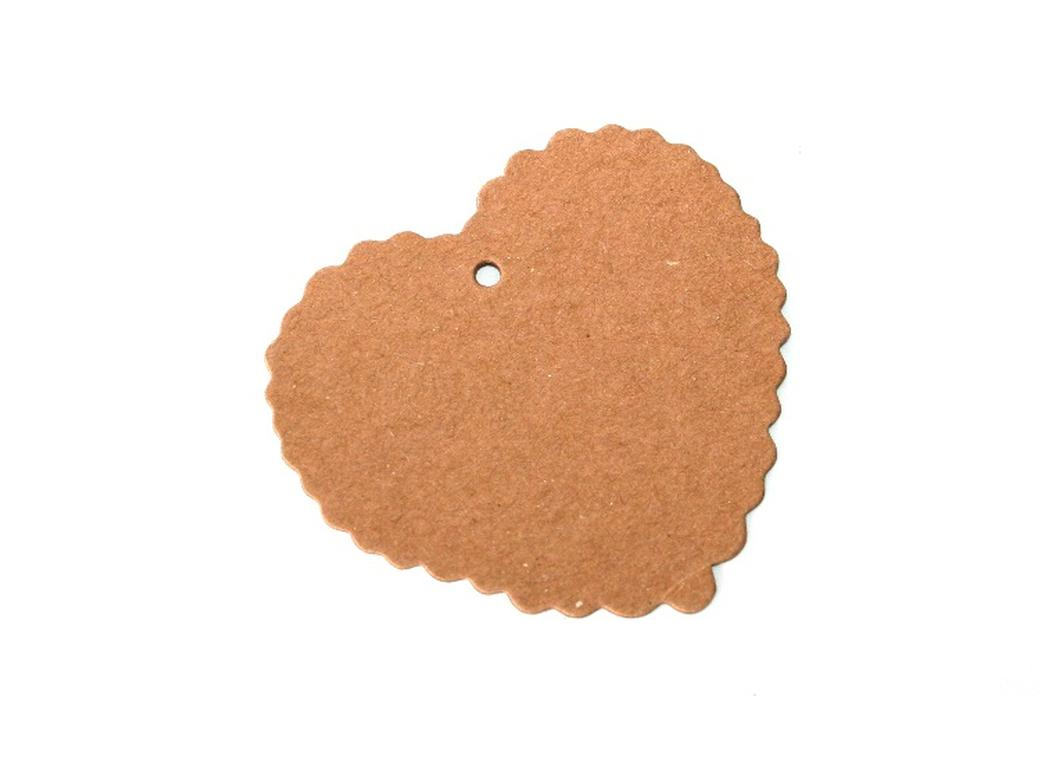 Kraft Heart Tags Scalloped - 12pk